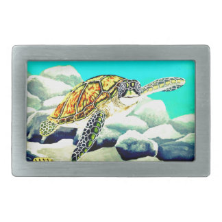 Sea Turtle Painting Beautiful Blue Sea Belt Buckle