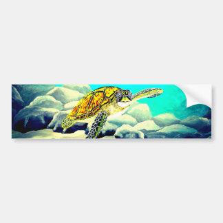 Sea Turtle Painting Beautiful Blue Sea Bumper Sticker