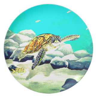 Sea Turtle Painting Beautiful Blue Sea Dinner Plate
