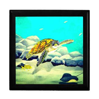 Sea Turtle Painting Beautiful Blue Sea Gift Box