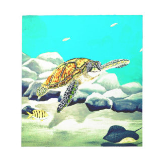Sea Turtle Painting Beautiful Blue Sea Notepad