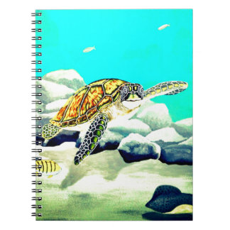 Sea Turtle Painting Beautiful Blue Sea Spiral Notebook