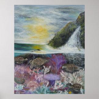 Sea turtle painting on poster