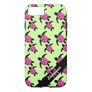 Sea Turtle Pattern Pink and Black iPhone 7 Case