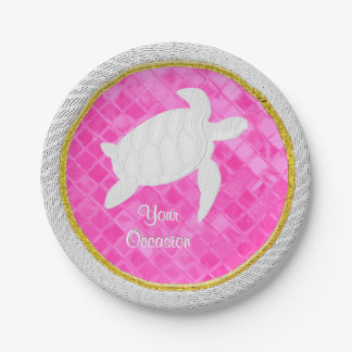 Sea Turtle Rope Pink Sea Glass Personalize 7 Inch Paper Plate