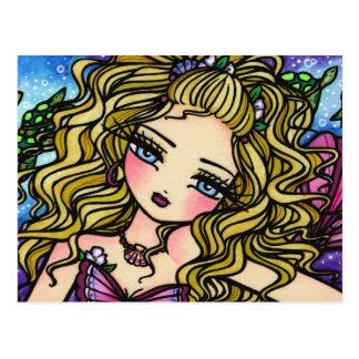 Sea Turtle Seashell Mermaid Girl Fantasy Postcard