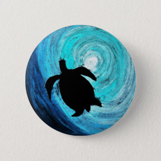 Sea Turtle Silhouette (K.Turnbull Art) 2 Inch Round Button