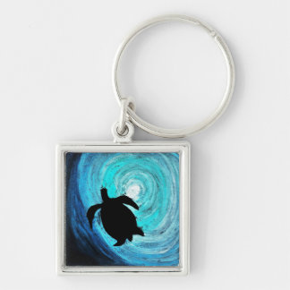 Sea Turtle Silhouette (K.Turnbull Art) Keychain