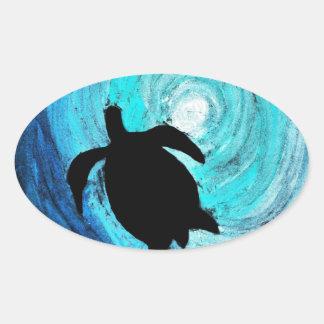 Sea Turtle Silhouette (K.Turnbull Art) Oval Sticker