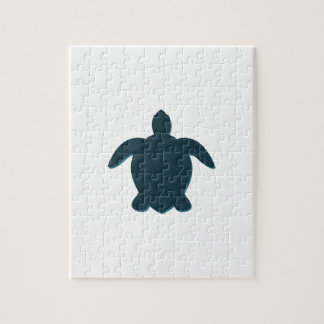 Sea Turtle Silhouette with shadow Jigsaw Puzzle