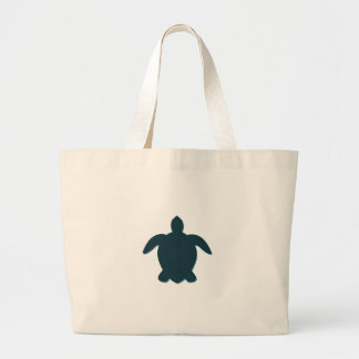 Sea Turtle Silhouette with shadow Large Tote Bag