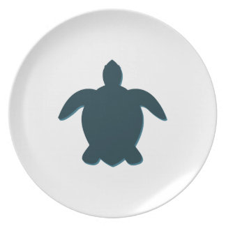 Sea Turtle Silhouette with shadow Plate