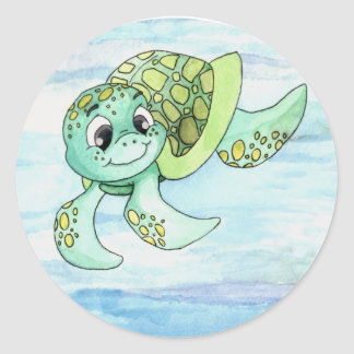 Sea Turtle Sticker- 2 Classic Round Sticker