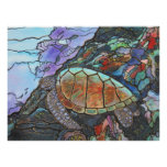 Sea Turtle Swimming By A Coral Reef Poster