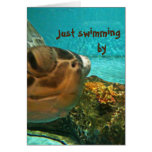 Sea Turtle Swimming By Father's Day Greeting Card