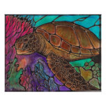sea turtle swimming poster