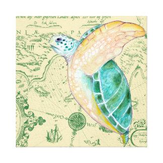 Sea Turtle Tan Map Vintage Canvas Print