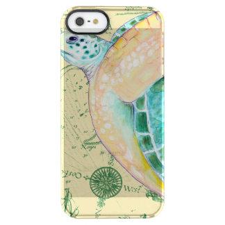 Sea Turtle Tan Map Vintage Clear iPhone SE/5/5s Case
