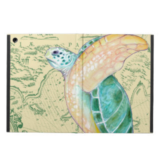 Sea Turtle Tan Map Vintage Cover For iPad Air