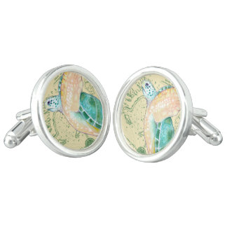 Sea Turtle Tan Map Vintage Cufflinks