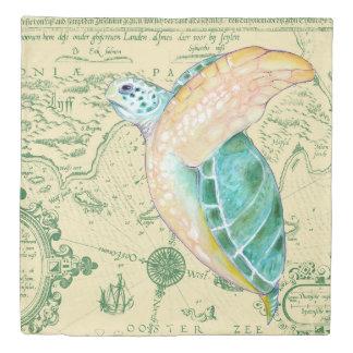 Sea Turtle Tan Map Vintage Duvet Cover