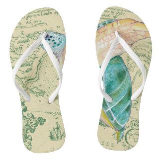 Sea Turtle Tan Map Vintage Flip Flops