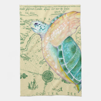 Sea Turtle Tan Map Vintage Kitchen Towel