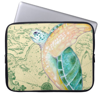 Sea Turtle Tan Map Vintage Laptop Sleeve
