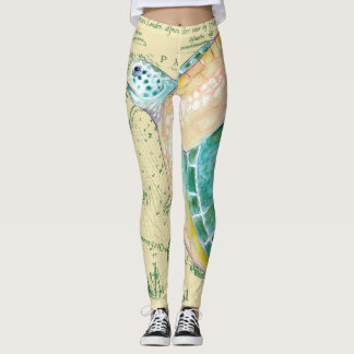 Sea Turtle Tan Map Vintage Leggings