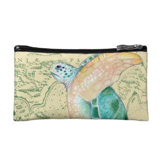 Sea Turtle Tan Map Vintage Makeup Bag