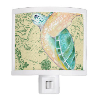 Sea Turtle Tan Map Vintage Nite Light