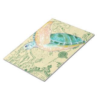 Sea Turtle Tan Map Vintage Notepad