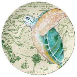 Sea Turtle Tan Map Vintage Plate