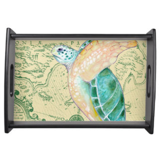 Sea Turtle Tan Map Vintage Serving Tray