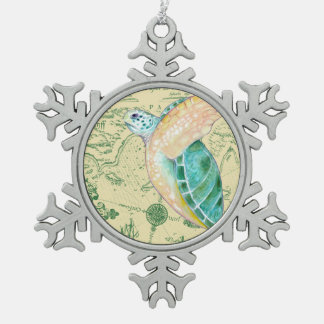 Sea Turtle Tan Map Vintage Snowflake Pewter Christmas Ornament