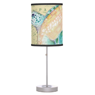 Sea Turtle Tan Map Vintage Table Lamp