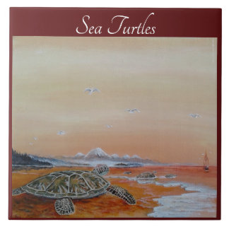 Sea Turtle Tile. Sea Turtles home decor. Tile