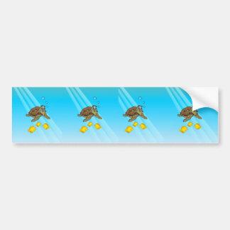 Sea Turtle Underwater Cartoon Bumper Sticker