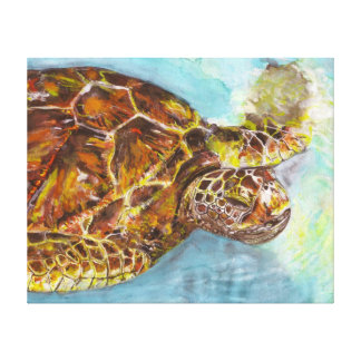 Sea Turtle Watercolor Painting on Canvas Stretched Canvas Prints