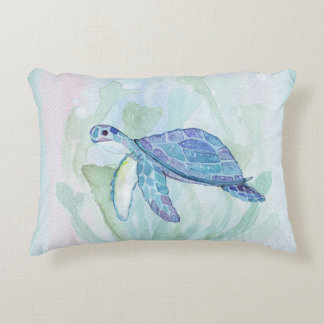 SEA TURTLE WATERCOLOR PASTEL Accent Pillow