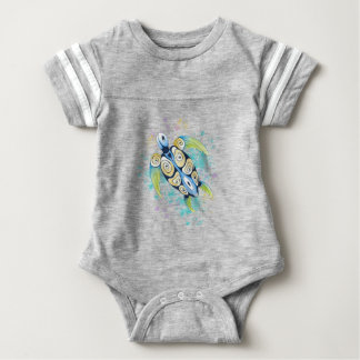 Sea Turtle Watercolor Splash Baby Bodysuit