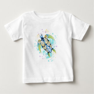 Sea Turtle Watercolor Splash Baby T-Shirt