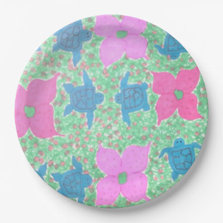 Sea Turtles and Flowers Paper Plates 9 Inch Paper Plate