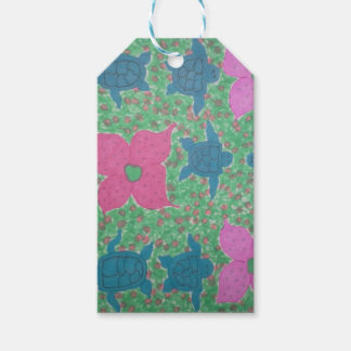 Sea Turtles and Flowers Tropical Art Gift Tags