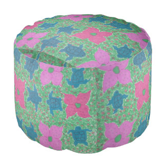 Sea Turtles and Flowers Tropical Pouf