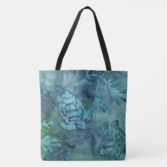 Sea Turtles Batik Tote Bag