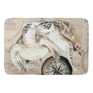 Sea Turtles Compass Map Bathroom Mat