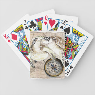 Sea Turtles Compass Map Bicycle Playing Cards