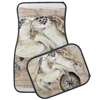 Sea Turtles Compass Map Car Mat