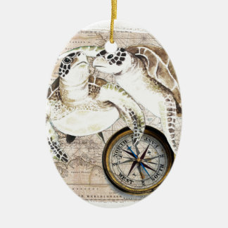 Sea Turtles Compass Map Ceramic Ornament